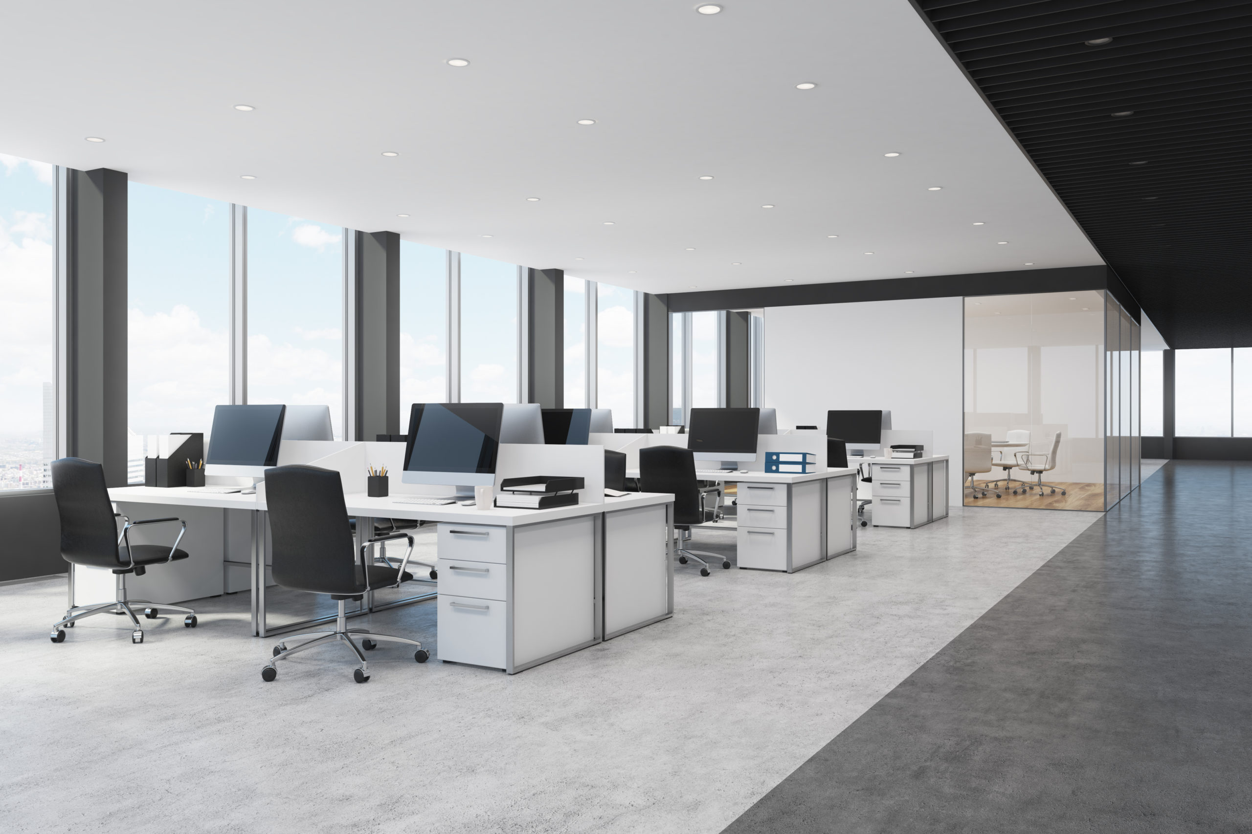 Modern Office with Communal Desk Spaces